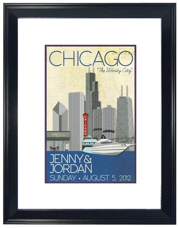 Personalized Wedding Poster - Chicago River