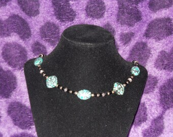 Turquoise, black and silver beaded necklace