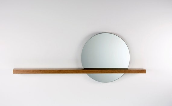 "Rise/Set Mirror, 18"" round mirror and solid wood shelf, Mirror on Right Side"