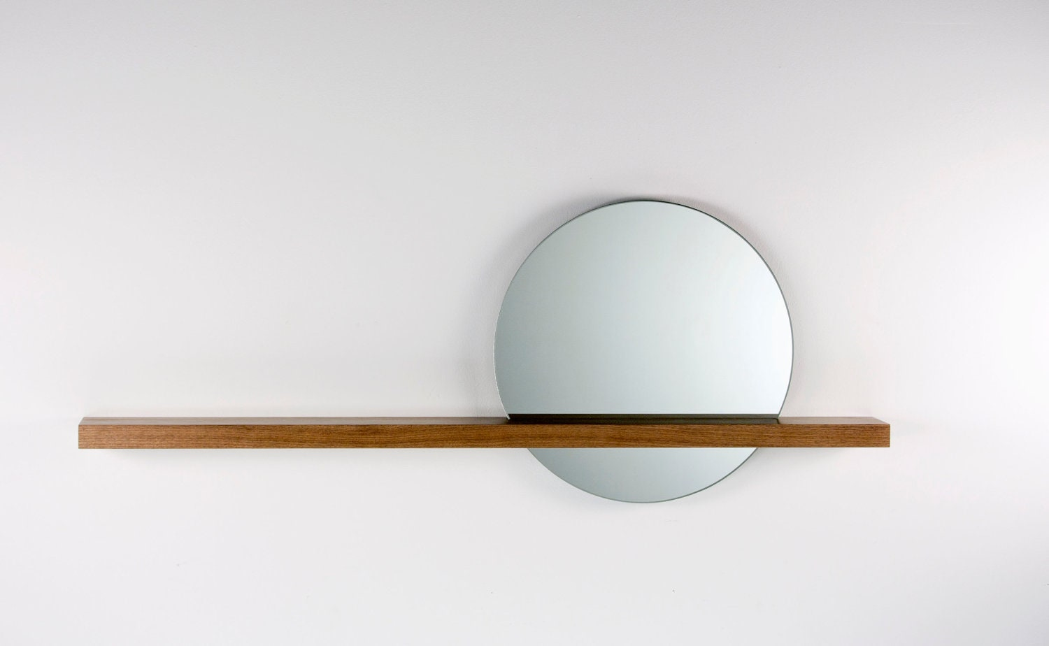 Rise Set Mirror 18 Round Mirror And Solid Wood Shelf