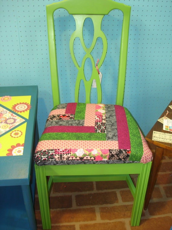 Items similar to lime green painted dining room chair on etsy for Lime green dining room ideas