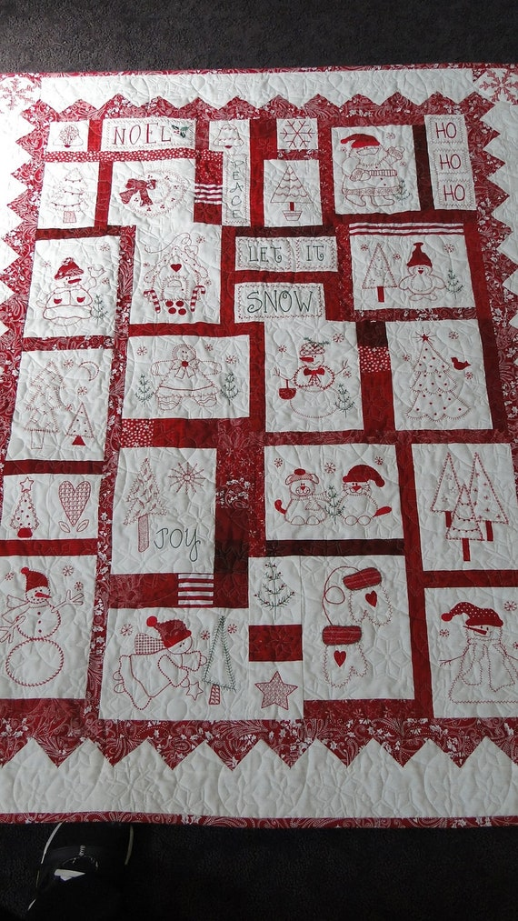 Handmade Machine Embroidered Appliqued Snowman Christmas Wall
