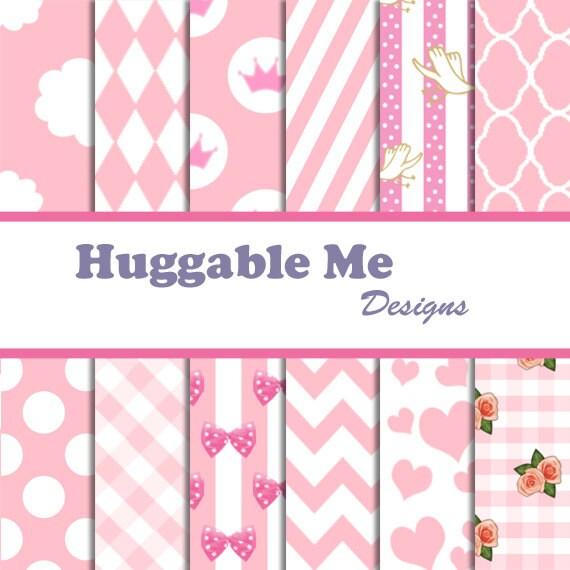 Baby Girl Scrapbook Paper Pink Hearts Polka Dots Stripes