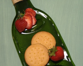 Flat Wine Bottle - Slumped Bottle - Platter - melted bottle - wine bottle cheese platter