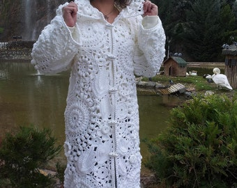 Crocheted coat, handmade and knitted Cardigan, inspired from Irish lace art