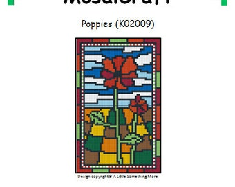 MosaiCraft Pixel Craft Mosaic Art Kit 'Poppies' (Like Mini Mosaic and Paint by Numbers)