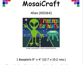 MosaiCraft Pixel Craft Mosaic Art Kit 'Alien' (Like Mini Mosaic and Paint by Numbers)