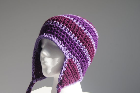 Crochet Womens Hat With Ear Flaps Pattern : Womens Crocheted Hat with Ear Flaps in Multiple by ...
