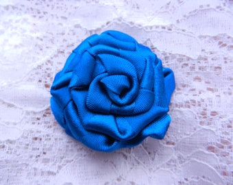 Blue rose textile brooch hair pin handmade