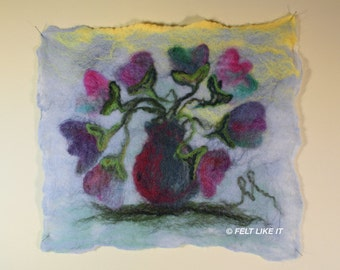 Tulips in a Vase Felted Wall Hanging, Wet Felted