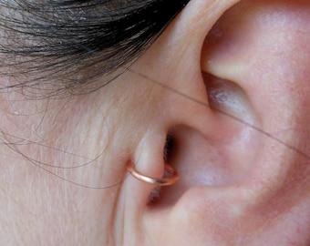 Non piercing heavy gauge copper tragus cuff, nose cuff, antitragus cuff, ear cuff