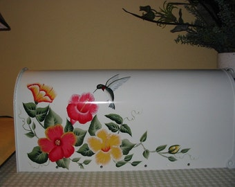 Hand Painted Mailbox with Hibiscus and Hummingbird