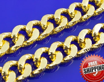3.2ft Chunky Gold Chain, Texture Chain, Aluminum Chain, Twisted Curb Chain,  16x13mm, FREE SHIPPING 246A.1D