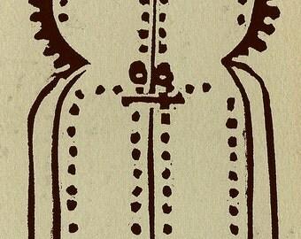 """Small Linocut Print of a Moroccan Door - """"Chefchaoan Door"""""""