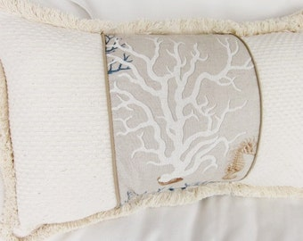 Coastal Blue and white Coral Pillow