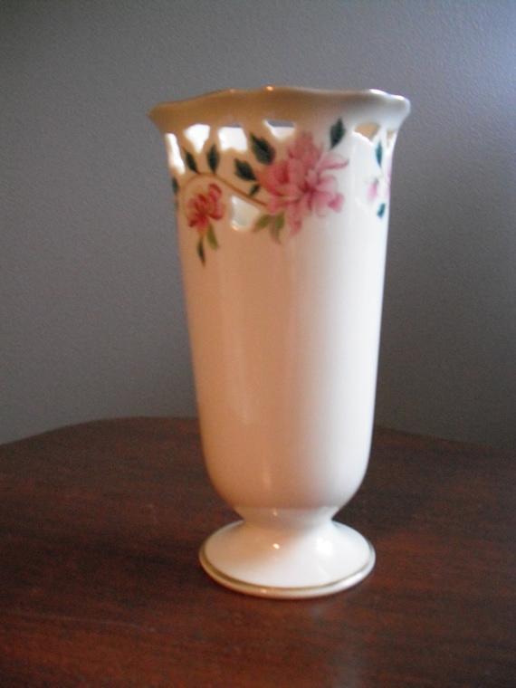 Items Similar To Retired Lenox Vase 24k Gold Trim Pink Flowers On Etsy