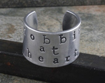 Hobbit Ring - Adjustable Ring - Silver Ring - Size 6 Ring - Size 7 Ring - Size 8 Ring - Size 9 Ring - Gift for Best Friend - Stamped Ring