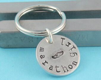 Marathon Keychain - Silver Keyring - Runner Keychain - Track Keychain - Gift For Runner - Marathon Key Chain - Running Keychain