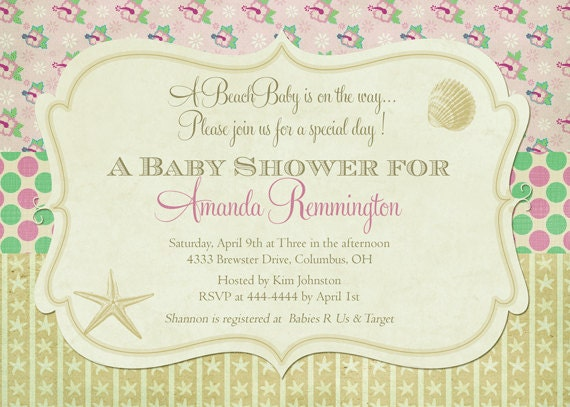 beach inspired baby shower invitations by party pop catch my party
