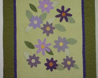 "Purple and Green Flower Wallhanging 33""X39"""