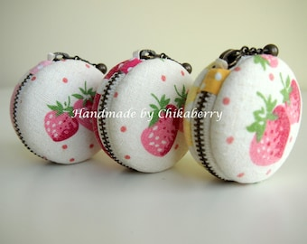 5cm,  Macaron Jewelry Pouch/ Macaroon/ Coin Purse - Yuwa Strawberry, Pink/ Red/ Yellow - Handmade in Japan by Chikaberry