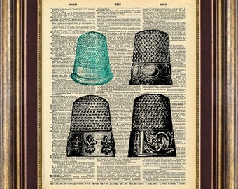 Thimbles Vintage Dictionary Page Print Up Cycled