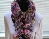 Hand knit ruffle scarf in Birthday -  purple, pink, and green ON SALE