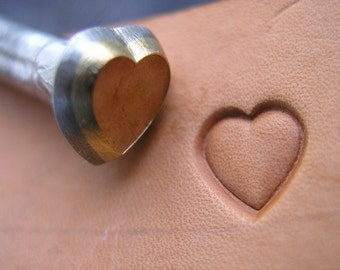 014-07 Heart Leather stamp 5 x 5, 7x7, 10 x 10 or 14 x 14 mm brass surface