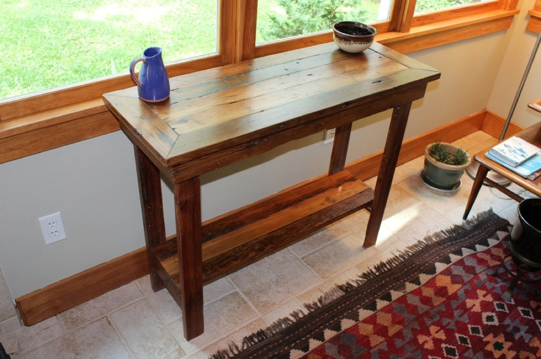 Foyer Table Etsy : Rustic reclaimed barnwood entryway table side console