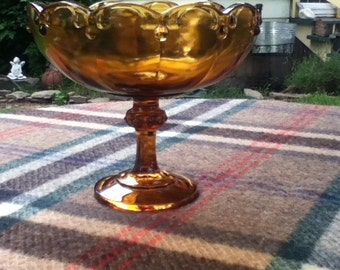 Amber Garland Tear Drop  Indiana Glass Compote