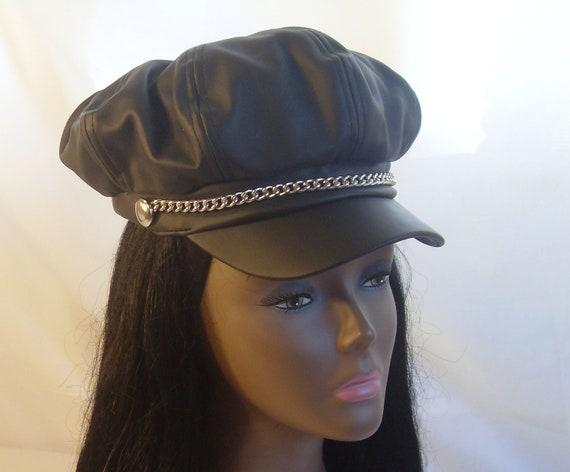 s vintage black leather biker cap hat chain across