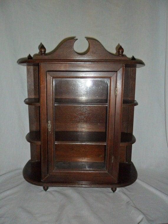 Vintage Mahogany Wall Or Table Top Curio Cabinet