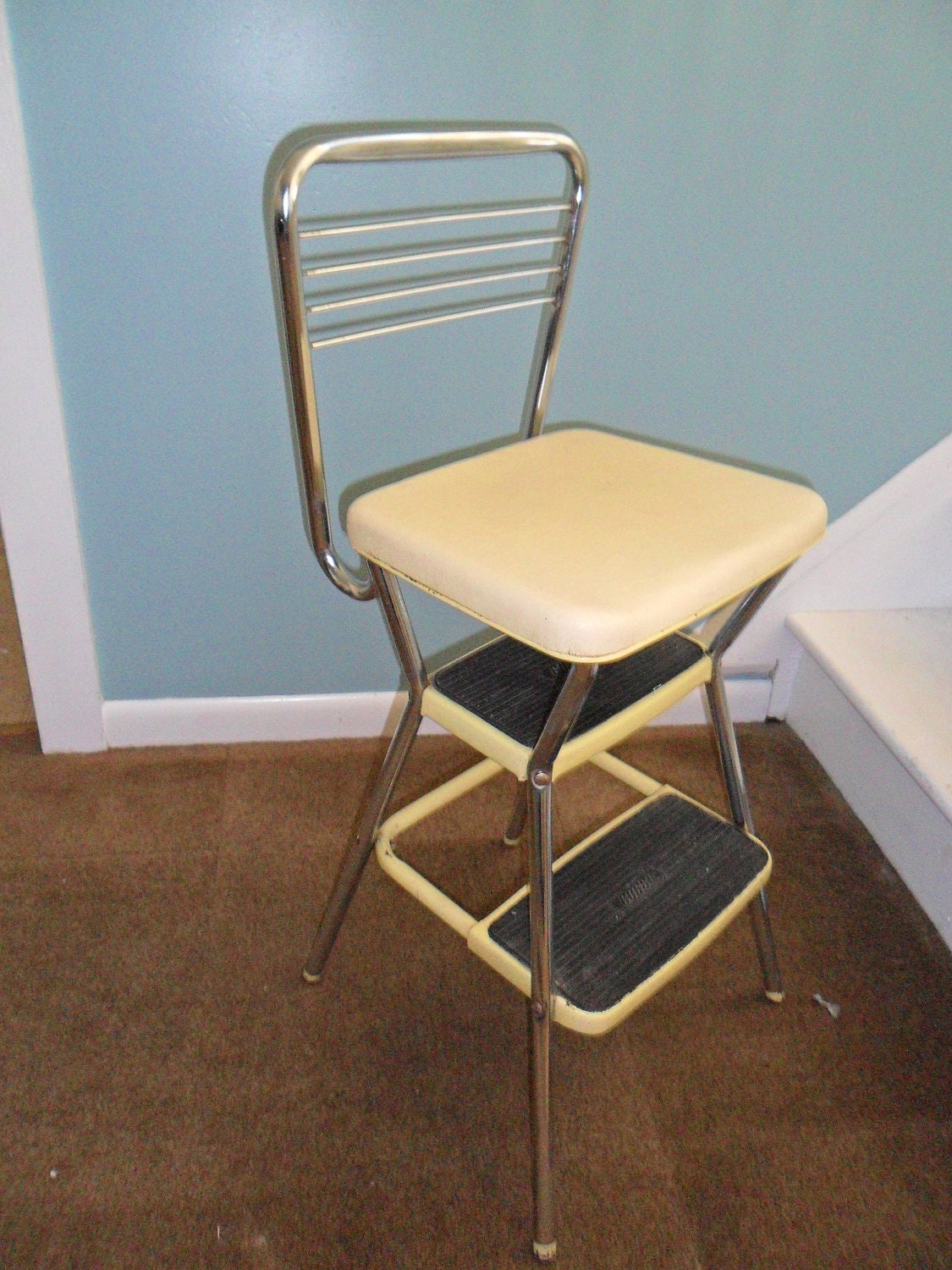 vintage cosco yellow kitchen step stool chair with flip up