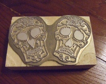 "Letterpress Printing Block ""Comedy Tragedy""  Sugar Skulls - Letterpress Blocks - Print Blocks - Mounted Letterpress Block - Magnesium Plate"