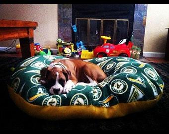 Round dog beds.