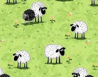 Fabric - Susybee - Lewe Sheep in Meadow - Green