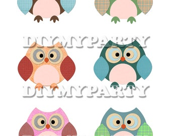 Scrapbooking Printable party decor Owl Clip Art Owl clipart birthday decoration pdf file digital birthday decor baby decor tags diy (176)