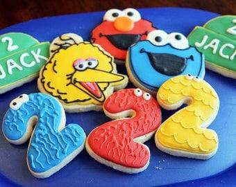 One Dozen Mixed Sesame Street Birthday Cookies