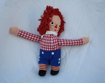 Vintage Knickerbocher Raggedy Andy Doll Red White Blue