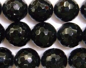 10mm Round Cut Black Tourmaline Beads - 9049