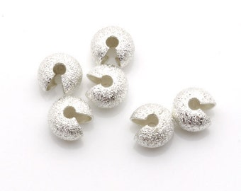 7mm Crimp Cover Stardust Silver Tone 100pieces package-