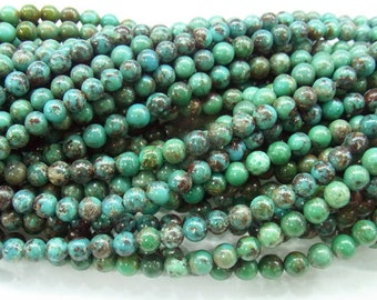 4mm Round Turquoise Beads Genuine Natural B Grade- 4246- 15''L 38cm Loose Beads Semiprecious Gemstone Bead   Supply