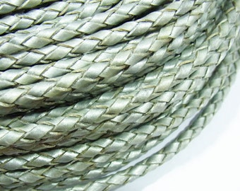 4mm Braided Genuine Leather Cord Silver String - 3603 - Wholesale Leather Cord