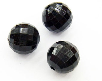 18mm Round Cut Acrylic Bead Black - Lot 30pieces - 2672 -