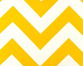 Large Chevron Fabric- Premier Prints Yellow White Zippy- Fabric by the Yard- 1 or More Yards- Modern Home Fabrics- Drapery Fabric