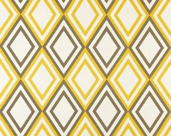 1/2 Yard Fabric- Premier Prints Annie- Corn Yellow Kelp Slub Diamond- Taupe Home Decor Fabric- SHIPS FAST- Discount Home Fabrics- Drapery