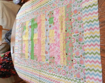 Pink, Green, Yellow, Chevron, Ducks, Butterflies, Flowers, Baby Quilt Top Quilttop, Ready to Finish, Handmade, 40x46