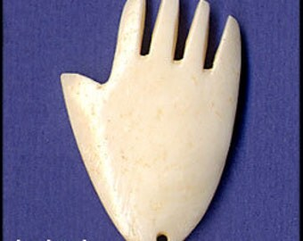 Carved Bone Hand Pendants (6 pieces)