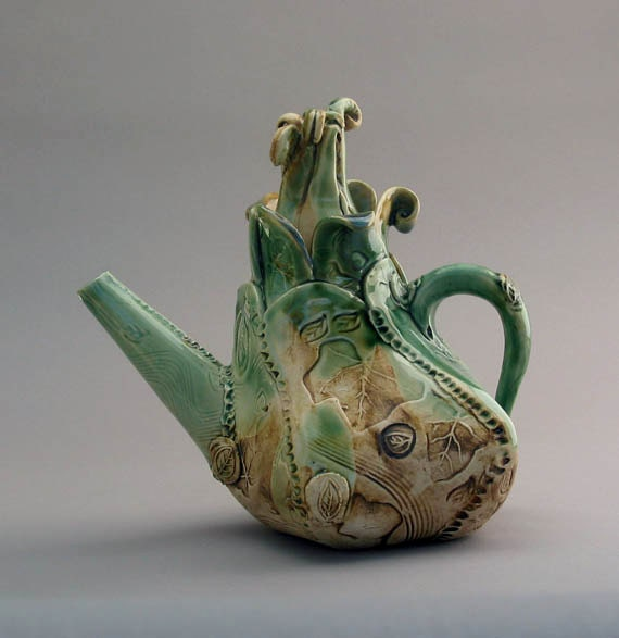 Garden Teapot rustic leaves design handmade stoneware with green glaze/brown patina