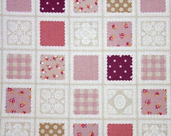 SALE - Cotton linen floral fabric / checkered fabric / polka dots fabric (half yard)